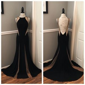 JOVANI COUTURE BLACK MESH CUTOUT BALL GOWN